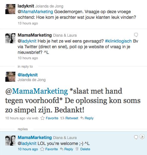 Twittervraag van @ladyknit