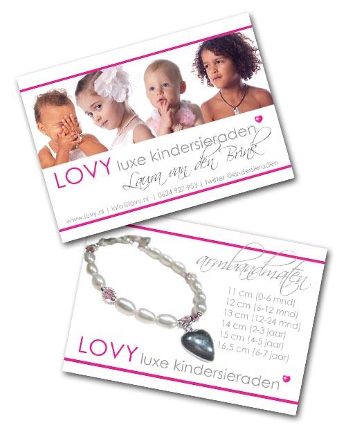 Visitekaartje A8 van LOVY luxe kindersieraden