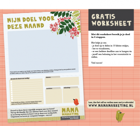 gratis worksheet werkblad printable mamamarketing tip Maanddoel Blogpost