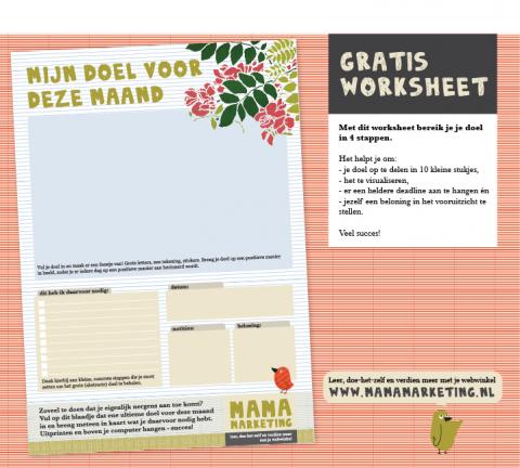 gratis worksheet werkblad printable mamamarketing tip Maanddoel Blogpost