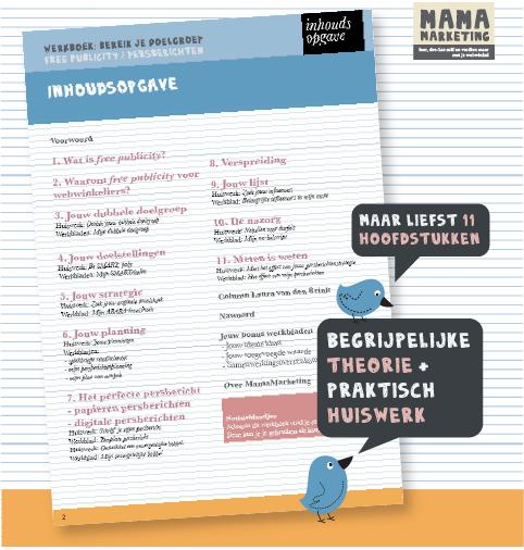 werkboek persberichten webwinkel inhoudsopgave werkbladen