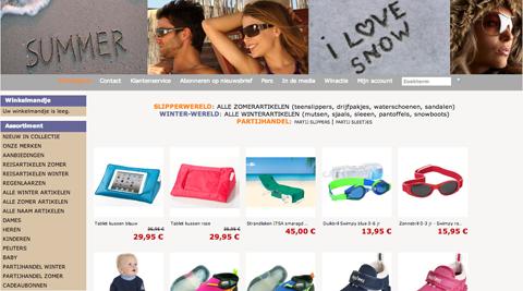 Slipperwereld verkoop webwinkel homepage op mamamarketing