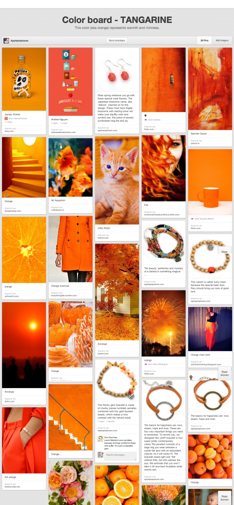 pinterest webwinkel marketing Color board - TANGARINE