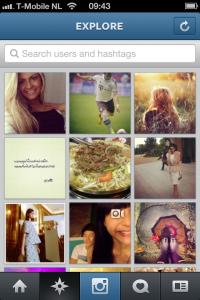 Instagram Explore Scherm 1