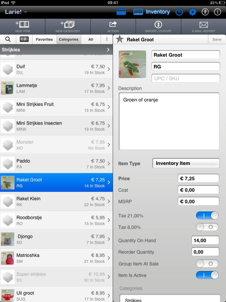quick sale ipad kassa app