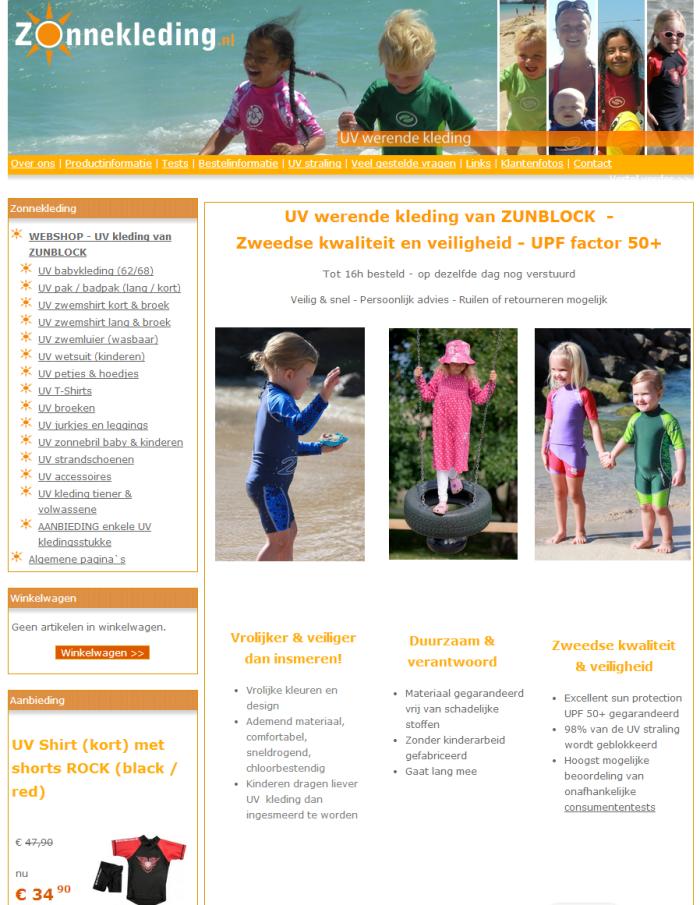 De homepage van Zonnekleding.nl