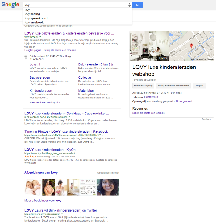 Zoekresultaat in Google. Rechts de Google+ pagina-preview.