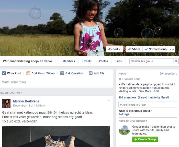 Wild verkoop groep Facebook