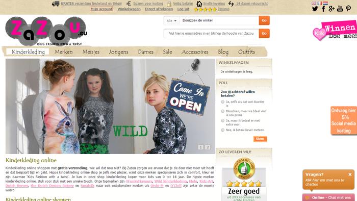 homepage zazou voor webwinkel te koop