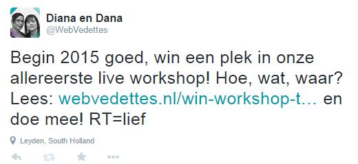Diana en Dana on Twitter   Begin 2015 goed  win een plek in onze allereerste live workshop  Hoe  wat  waar  Lees  http   t.co sde0WFSxdP en doe mee  RT lief