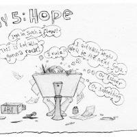 Illustratie van striptekenaar Merel Barends, '7 days in The Art World'. Dag vijf: Hoop. http://merelbarends.blogspot.nl